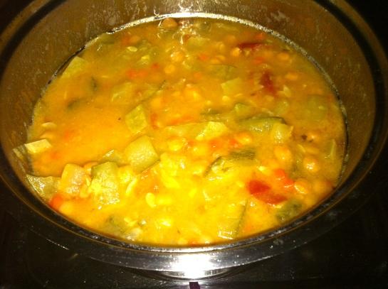Spaghetti di Kamut con ceci e zucchina tonda